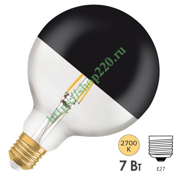 Лампа Osram GLOBE125 Vintage 1906 LED CL MIRROR BLACK 7W 2700K E27 178x125mm черный мат